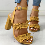 Micasahi Frilled Solid Color Chunky Heeled Sandals