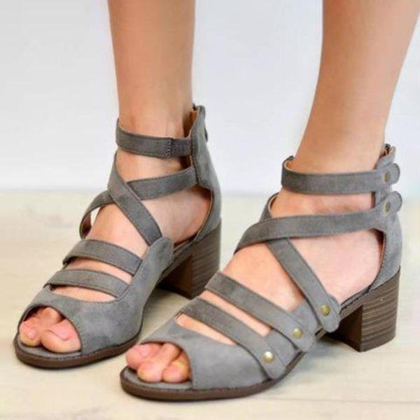 Micasahi Faux Suede Lace-up Sandals