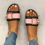 Micasahi Colorblock Open Toe Buckled Flat Slippers