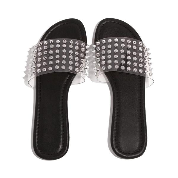 Micasahi Studded Spiked Strap Lightly Padded Insole Slippers