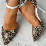Micasahi Studded Pointed Toe Ankle-buckled Thin Heels