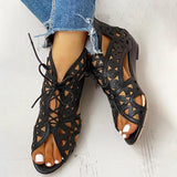 Micasahi Hollow Out Lace-up PU Wedge Sandals