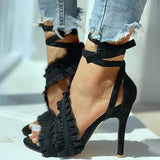 Micasahi Suede Ankle Strap Frill Hem Thin Heels Sandals