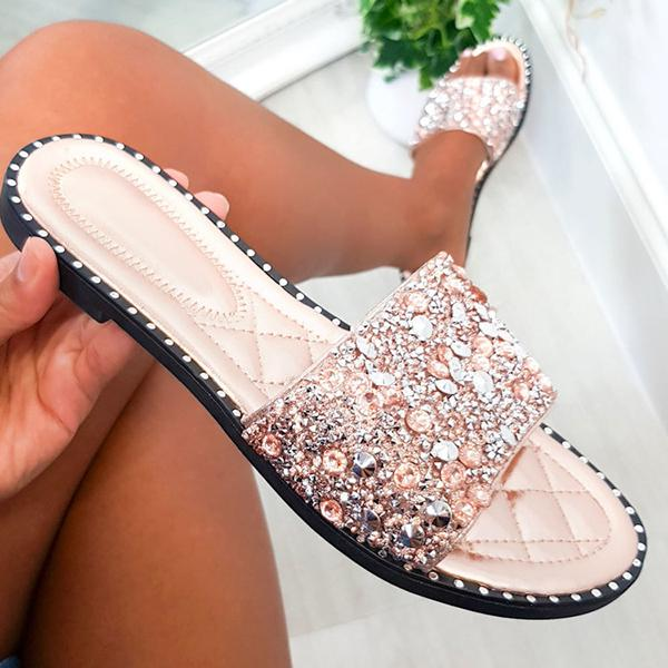 Micasahi Faux Leather Embellished Slippers