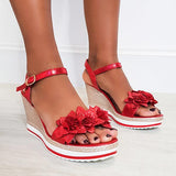 Micasahi Monah Flower Braided Wedged Heel Sandals