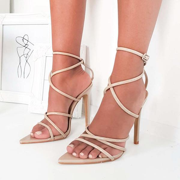 Micasahi Strappy Patent Pointed High Heels Sandals