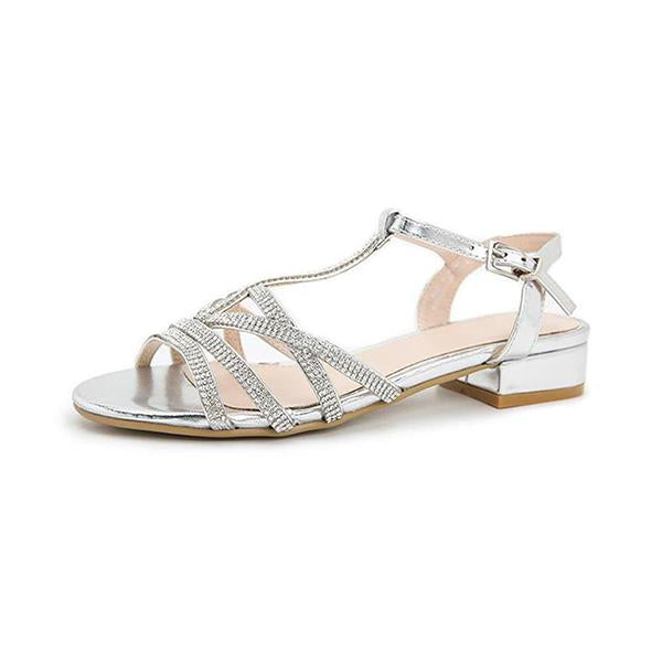 Micasahi Open Toe Embellished Strap Sandals
