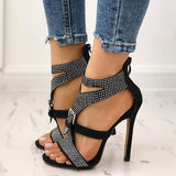 Micasahi Shiny Embellished Buckle Peep-toe High Heeled Sandals