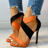 Micasahi Colorblock Crisscross Thin Heeled Sandals