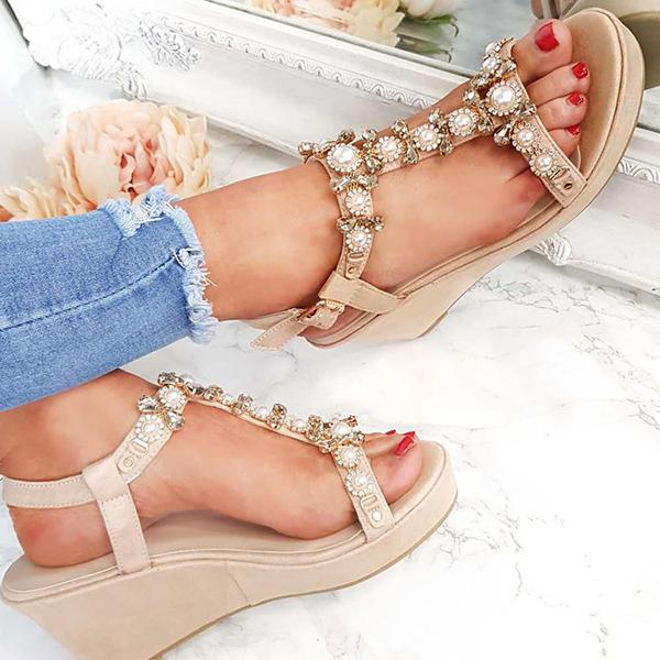 Micasahi Charlotte Embellished T-Bar Wedge Sandals