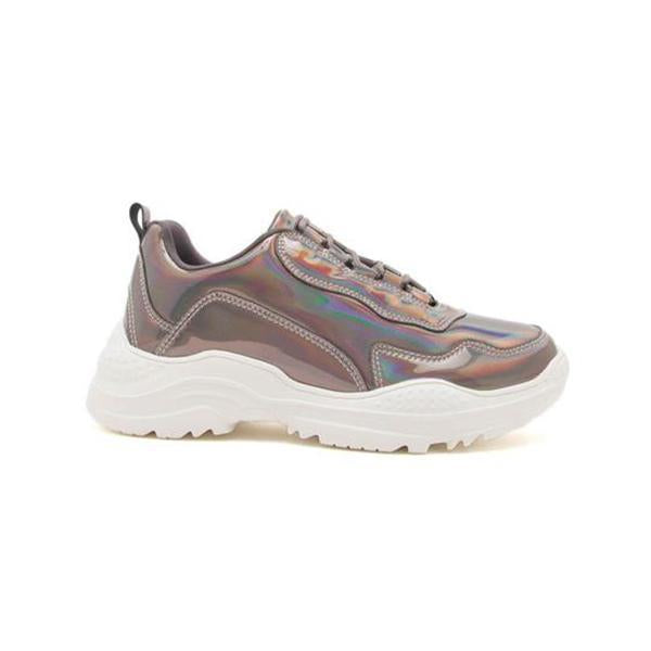 Micasahi Pewter Hologram Lace Up Sneakers