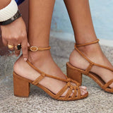 Micasahi Women Ankle Strap Chunky Heels Sandals