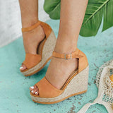 Micasahi Women Fashion Peep Toe Adjustable Buckle Wedges