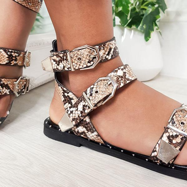 Micasahi Casual Double Strap Studded Sandals