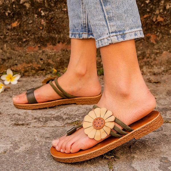 Micasahi Women Holiday Flower Suede Slippers