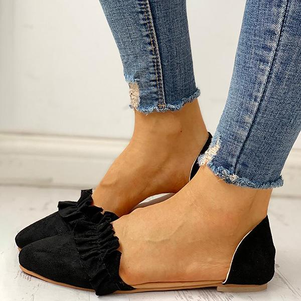 Micasahi Suede Pointed Toe Frill Flats