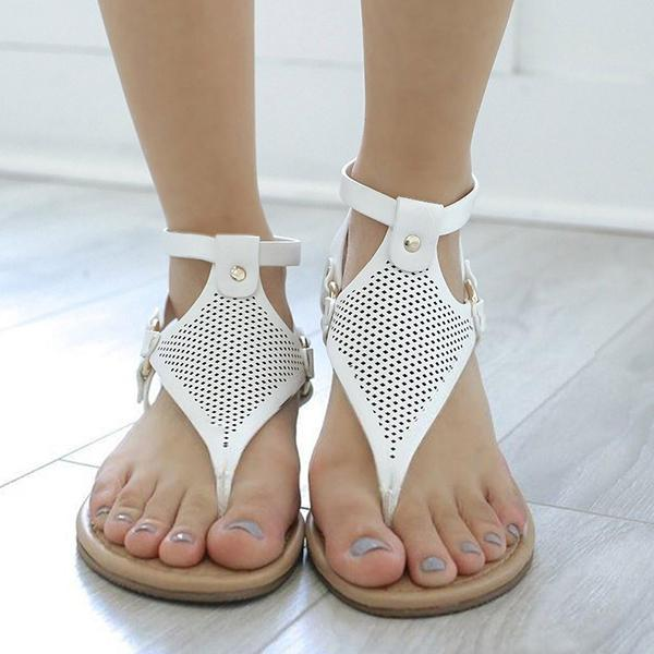 Micasahi Casual Open Toe Zipper Flat Sandals