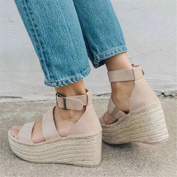 Micasahi Fashion Simple Woven Wedge Sandals
