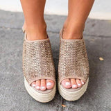 Micasahi Thick-Sole Peep Toe Weaving Sandals