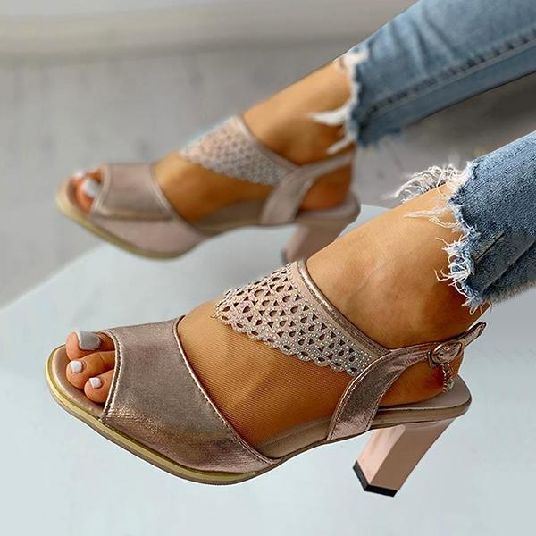 Micasahi Women Fashion Rhinestone High Heell Buckle Strap Sandals