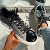 Micasahi Women Glitter Casual Split Joint Lace-up Sneakers