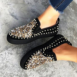 Micasahi Women Daily Fashion Sequin Rivet Slip-on Sneakers