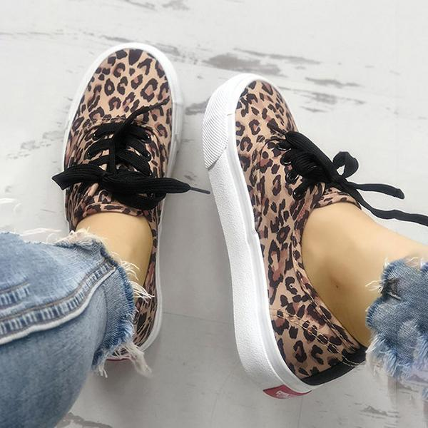 Micasahi Leopard Print Casual Lace-Up Canvas Women Sneakers