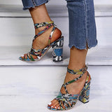 Micasahi Women Snakeskin Cross-Strap Buckle Strap Chunky Sandals