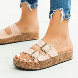 Micasahi Summer Casual Double Buckle Platform Sandals
