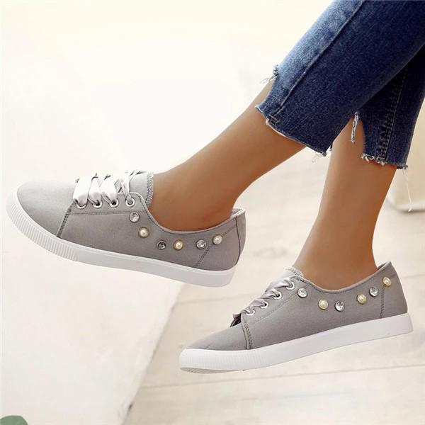 Micasahi Women Canvas Lace-up Sneakers Round Toe Casual Shoes