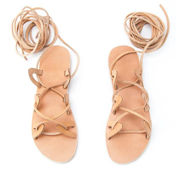 Micasahi Womens Casual Daily Lace-Up Sandals