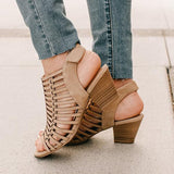 Micasahi Peep Toe Hollow Out Buckle Heeled Sandals