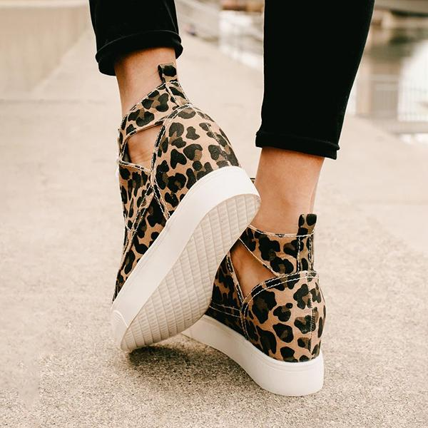 Micasahi Women Fashion Leopard Cutout Wedge Sneakers