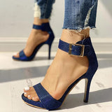 Micasahi Glitter Ankle Buckled Thin Heeled Sandals