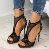 Micasahi Open Toe Cutout Lace Thin Heel Sandals