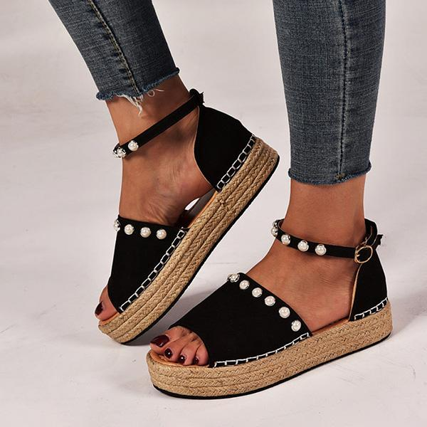 Micasahi Fashion Women Pearl Belt Buckle Thick Bottom Sandals