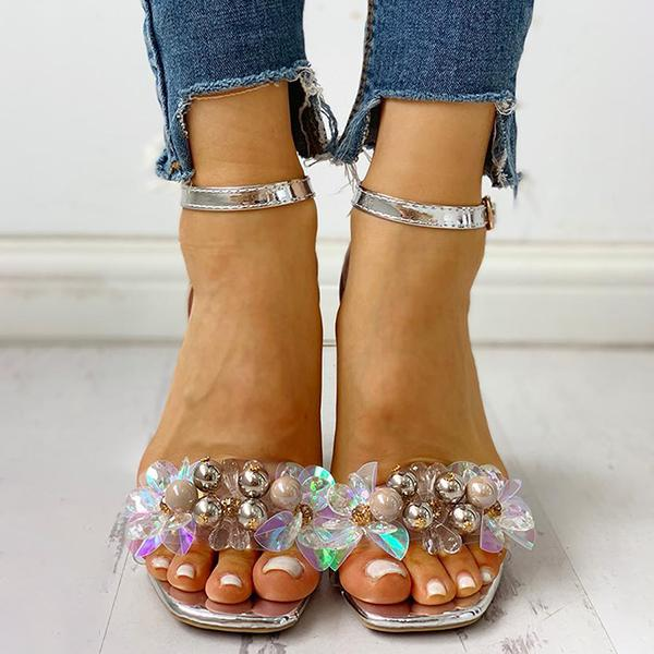 Micasahi Beaded Ankle Strap Chunky Heeled Sandals