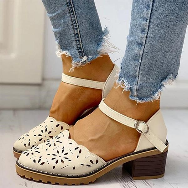 Micasahi Wild one-piece buckle heel women shoes