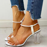 Micasahi Ankle Strap Transparent Chunky Heeled Sandals