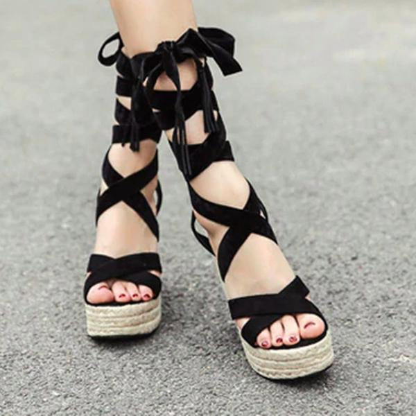 Micasahi Lombardi Lace Up Wedge Sandals