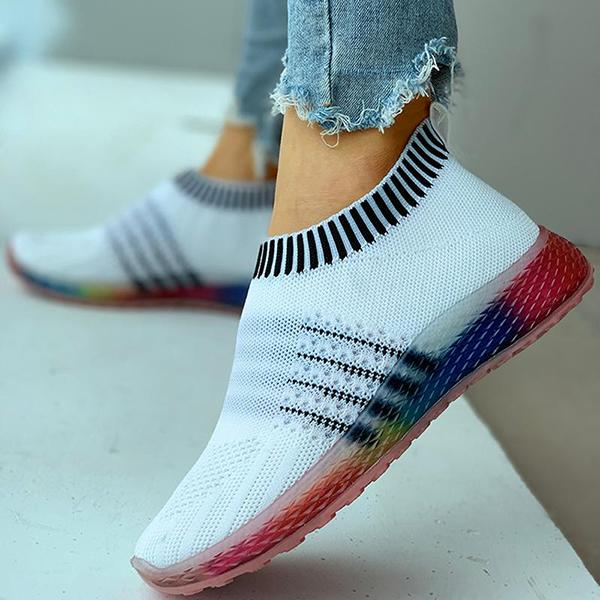 Micasahi Colored Bottom Striped Breathable Casual Sneakers