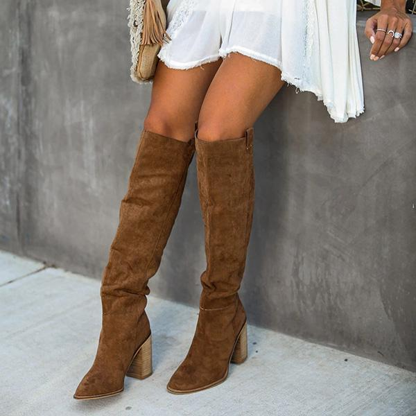 Micasahi Distressed Faux Suede Slouch Boots
