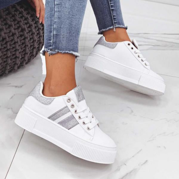 Micasahi Women Fashion Lace-up Teddy Sneakers