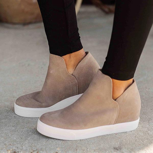 Micasahi Women Taupe High Top Sneakers