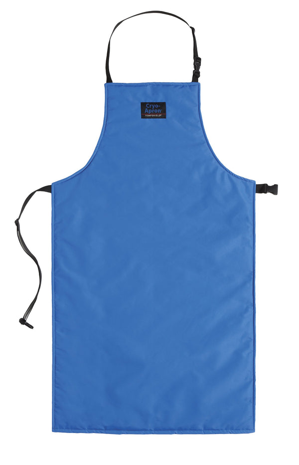 Blue Cryo-Apron with reverse side showing at corner