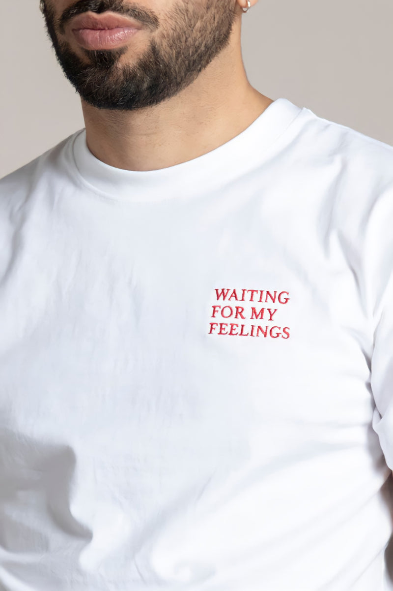 WAITING FOR MY FEELINGS T-Shirt - white