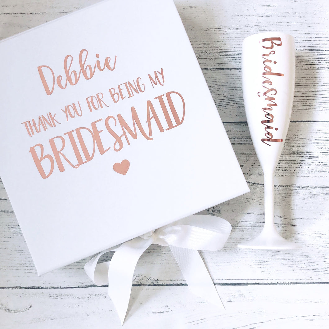 SET OF 2 - Bridesmaid Proposal Box & Prosecco Flute Set
