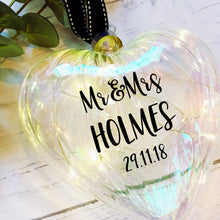 Load image into Gallery viewer, Light Up Proposal Christmas Bauble / Large 15cm Glass Heart