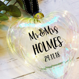 Light Up Wedding Bauble / Large 15cm / Glass Heart / Personalised