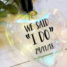 Load image into Gallery viewer, Light Up Wedding Bauble / Large 15cm / Glass Heart / Personalised